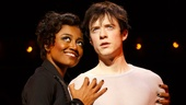 Patina Miller as the Leading Player and Matthew James Thomas as Pippin in Pippin.