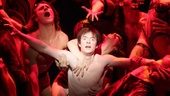 Matthew James Thomas as Pippin and the cast of Pippin.