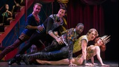 Charlotte d'Amboise as Fastrada and the cast of Pippin.