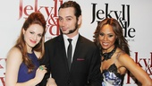 The Jekyll & Hyde stars sure clean up nice! Teal Wicks, Constantine Maroulis and Deborah Cox arrive arm-in-arm to the opening night party at the Marriott Marquis.