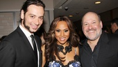 Deborah Cox enjoys the party with co-star Constantine Maroulis and composer Frank Wildhorn on each arm.