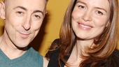 Alan Cumming and actress Saffron Burrows catch up backstage after the show.