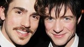 Erik Altemus and Matthew James Thomas play feuding brothers in Pippin, but they're all smiles offstage.