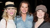 Brooke Shields greets Cinderella ladies Stephanie Gibson (her Addams Family understudy) and Linda Mugleston (her castmate in On the Town).