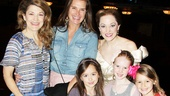 Look at those smiles! Brooke Shields, her daughter Grier (in gray jumper) and Griers friends Ava and Milly and thrilled to meet Cinderella stars Victoria Clark (l.) and Laura Osnes.