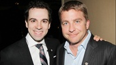 Chaplin's memorable leading man Rob McClure steals a moment with A Christmas Story producer and film star Peter Billingsley.