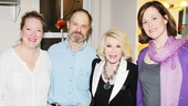 Joan Rivers congratulates Vanya headliners Kristine Nielsen, David Hyde Pierce and Sigourney Weaver.