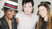 Backstage, Pippin headliners Patina Miller and Matthew James Thomas make special guest Jessica Biel an honorary member of the circus.