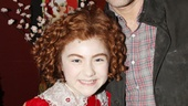 Glee star and Broadway vet Matthew Morrison congratulates Annie title star Lilla Crawford.