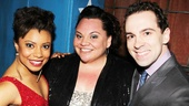 Vanya's Shalita Grant, Hardbody's Keala Settle and Chaplin's Rob McClure get close for a group shot.