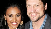Nina Davuluri greets Broadway favorite Christopher Sieber, who is playing the role of King Charles during Terrence Mann's vacation.