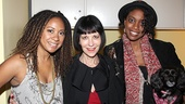 Tony nominee Ellen Greene, who will soon appear at the Uptown/Downtown benefit in NYC, gets between Tracie Thoms and Condola Rashad (and her adorable dog, Penny!) for a lovely photo op.