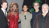 Young takes a snapshot with Kinky Boots stars Stark Sands (Charlie) and Kyle Taylor Parker (Lola, on for Billy Porter), director/choreographer Jerry Mitchell and book writer Harvey Fierstein.