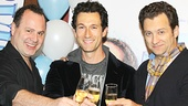 The three potential dads—Daniel Cooney, Aaron Lazar and Graham Rowat—raise a glass to the hit musical.