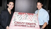 "Time to cut the cake! Jersey Boys stars Dominic Scaglione Jr. and Matt Bogart celebrate eight ""crazy"" years on Broadway!"