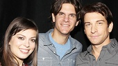 Alex Timbers proudly poses with the stars he selected to open on Broadway in Rocky, Margo Seibert and Andy Karl.