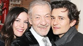 Backstage, Lord of the Rings elves Liv Tyler and Orlando Bloom (currently starring in Romeo and Juliet on Broadway) embrace their Gandalf, Ian McKellen.