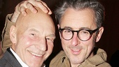 After the show, Patrick Stewart gets a congratulatory head rub from Tony winner Alan Cumming.