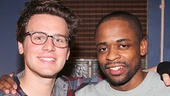 Jonathan Groff shares a moment with Dule Hill. (Maybe they talked TV: Jonathan's about to premiere in HBO's Looking and Dule stars in Psych).