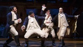 Daveed Diggs as Marquis de Lafayette, Okieriete Onaodowan as Hercules Mulligan, Anthony Ramos as John Laurens and Lin-Manuel Miranda as Alexander Hamilton in Hamilton