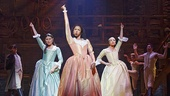 Phillipa Soo as Eliza Hamilton, and Renee Elise Goldsberry as Angelica Schuyler and Jasmine Cephas Jones as Peggy Schuyler in Hamilton