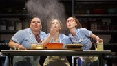Keala Settle as Becky, Jessie Mueller as Jenna and Kimiko Glenn as Dawn in Waitress.