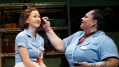 Kimiko Glenn as Dawn and Keala Settle as Becky in Waitress.