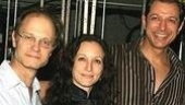 Spamalot&amp;#39;s David Hyde Pierce and Bebe Neuwirth congratulate Jeff Goldblum backstage.