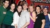 Grease group shot! Jose Restrepo, Lindsay Mendez, Laura Osnes, Max Crumm, Robyn Hurder, Ryan Patrick Binder and Matthew Saldivar squeeze in.