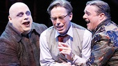 Kevin Chamberlin as Uncle Fester, Terrence Mann as Mal Beineke and Nathan Lane as Gomez in The Addams Family.