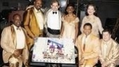 Memphis stars J. Bernard Calloway, James Monroe Iglehart, Chad Kimball, Montego Glover, Derrick Baskin, Cass Morgan and Michael McGrath surround a tray of cupcakes honoring their show's 200th Broadway performance.