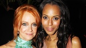 Tony winner Swoosie Kurtz is greeted by Race leading lady Kerry Washington.