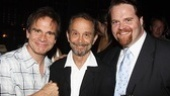 Speaking of Oscar winners, Joel Grey is in the house—and congratulates cast members Peter Scolari and John Treacy Egan.