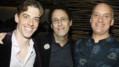 Happy playwright Tony Kushner gets between Christian Borle and Frank Wood, who rounds out the cast of eight as AIDS-stricken lawyer Roy Cohn.