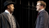 Jesse L. Martin as Gratiano and David Harbour as Bassanio in The Merchant of Venice.
