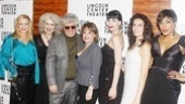 Pedro Almodovar and his Broadway ladies: Sherie Rene Scott, Mary Beth Peil, Patti LuPone, Nikka Graff Lanzarone, Laura Benanti and de'Adre Aziza.