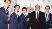 Empire State Building general manager Joseph Bellina greets Jersey Boys stars Ryan Jesse, Dominic Nolfi, Jarrod Spector and Matt Bogart for a special ceremony honoring the show's fifth anniversary.
