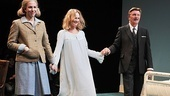 Rebecca Henderson, Larry Bryggman, and Lisa Emery step out to booming applause at curtain call on opening night of The Collection & A Kind of Alaska.