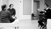 Stage siblings Elizabeth Marvel and Thomas Sadoski confer with Jon Robin Baitz before running through a scene.