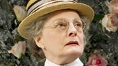 Dana Ivey as Miss Prism and Paxton Whitehead as Reverend Chausible in The Importance of Being Earnest.