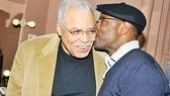 Aww! James Earl Jones gets a peck on the cheek from his friend and former co-star Courtney B. Vance.