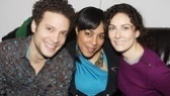 The lovely de'Adre Aziza gets between co-stars Justin Guarini and Laura Benanti.