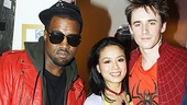 T.V. Carpio, who plays Spider-Man villain Arachne, hops in for a photo with Kanye West and co-star Reeve Carney.
