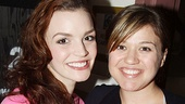 Kelly Clarkson gets close to Spider-Man's leading lady, Jennifer Damiano.