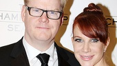 Comedian Jim Gaffigan celebrates his Broadway debut with wife Jeannie.