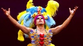 Tony Sheldon as Bernadette, Will Swenson as Mitzi and Nick Adams as Felicia in Priscilla Queen of the Desert.