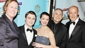Executive producer Beth Williams (COO of Broadway Across America) and producers Craig Zadan and Neil Meron sandwich their stars, Daniel Radcliffe and Rose Hemingway.