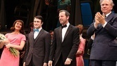 Rose Hemingway, Daniel Radcliffe, director/choreographer Rob Ashford and John Larroquette soak in the applause.