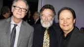Toys director Barry Levinson and Billy Crystal sandwich Robin Williams' on Bengal Tiger's opening night.