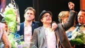 Floral tributes in hand, Catch Me leads Aaron Tveit and Norbert Leo Butz soak in the applause.